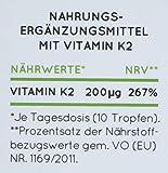 NATURE LOVE Vitamin K2 MK-7-200µg, 1700 Tropfen, 50ml. Höchster All-Trans Gehalt 99,7% (Hersteller runden auf 100%), natürlich fermentiert. Premium: Gnosis VitaMK7. Flüssig, vegan, made in Germany