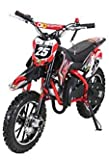 Actionbikes Motors Kinder Mini Crossbike Gepard 49 cc 2-takt inklusive Tuning Kupplung 15mm Vergaser Easy Pull Start verstärkte Gabel Dirt Bike Dirtbike Pocket Cross (Rot)