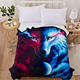 WONGS BEDDING Luxus Flanelldecke Double Size 3D Wolf Tier gedruckt Decke Navy Blue Fleece Tagesdecke Decke für Sofa und Bett 150 * 200 cm