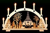 Schwibbogen 7 Kerzen Seiffener Kirche & Kurrende Handarbeit Erzgebirge Weihnachten erzgebirgischer