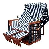 XINRO - XY-01 - Garten Strandkorb inkl. Luxus Strandkorb Schutzhülle u. 4x Kissen, Blau-gestreifter Stoff - braunes Holz, Nordsee Strandkorb Form
