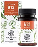 NATURE LOVE Vitamin B12 - Vergleichssieger 2019* - 1000µg, 180 Tabletten. Beide aktive Formen Adenosyl- & Methylcobalamin + Depot + Folsäure als 5-MTHF. Vegan, hochdosiert, made in Germany