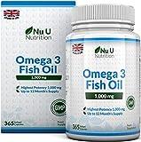 Omega 3 Fischöl 1000 mg von Nu U | 365 Kapseln (Versorgung für 12 Monate) | 100% GELD-ZURÜCK-GARANTIE | Maximale Stärke und Aufnahmefähigkeit | Hergestellt in Großbritannien