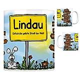 Lindau (Bodensee) - Einfach die geilste Stadt der Welt Kaffeebecher Tasse Kaffeetasse Becher mug Teetasse Büro Stadt-Tasse Städte-Kaffeetasse Lokalpatriotismus Spruch kw Bodolz Schachen Nonnenhorn
