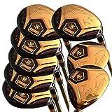 wazaki Japan 14K Gold Finish Cyclone 4-SW Mx Hybrid Eisen Golfschläger-Set + Schlägerhaube (Regular Flex, Gold Graphitschaft, Rechtshänder, Limitierte Edition) 16 Stück