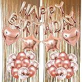 ZERODECO Geburtstagsfeier Dekoration, Happy Birthday Buchstaben Ballons Folienvorhänge Mylarfolie Stern und Herzform Ballons Konfetti Luftballons - Perfekte Geburtstags Party Deko Zubehör