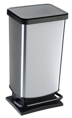 Rotho Paso Mülleimer 40 l mit geruchdichtem Deckel, Kunststoff (PP), silber metallic, 40 Liter (35,3 x 29,5 x 67,6 cm)