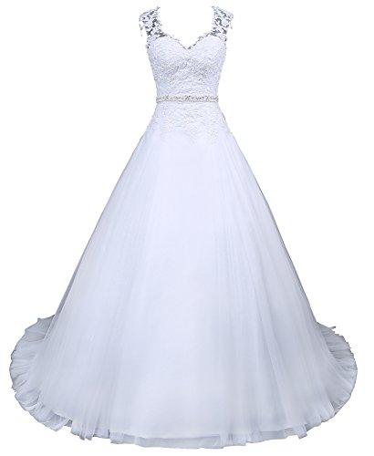 Romantic-Fashion Brautkleid Hochzeitskleid Weiß Modell W048 A-Linie Satin Perlen Pailletten Strass DE Größe 40