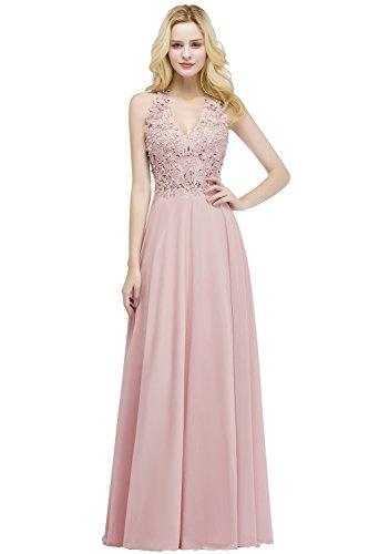 MisShow Ballkleid Abendkleid Lang Ärmellos Perlenstickerei Applique Chiffon Abschlusskleid, Rosa, 38