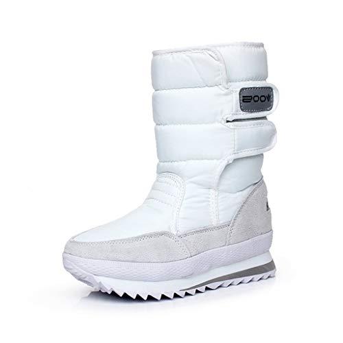 CAICAIL Frauen-Winter-Mittler-Kalb Schnee Stiefel Wasserdicht Artificial Plüsch Raum Stiefel Non-Slip Kurzer Stiefel Freizeit Large Size Knie Cotton Paste Schuhe,Weiß,39