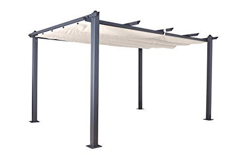 Jet-Line Pavillon Pergola Überdachung'Luxor 4 x 3 m anthrazit-beige UV Beschattung Terrasse Garten Sonnenschutz Sonnendach Aluminium