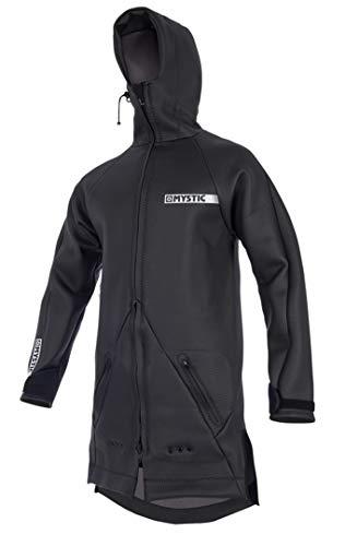 Mystic Watersports - Surf Kitesurf & Windsurfing Herren Battle Coat Jacket Mantel Schwarz. Wasserdicht - Kapuze mit Stehkragen