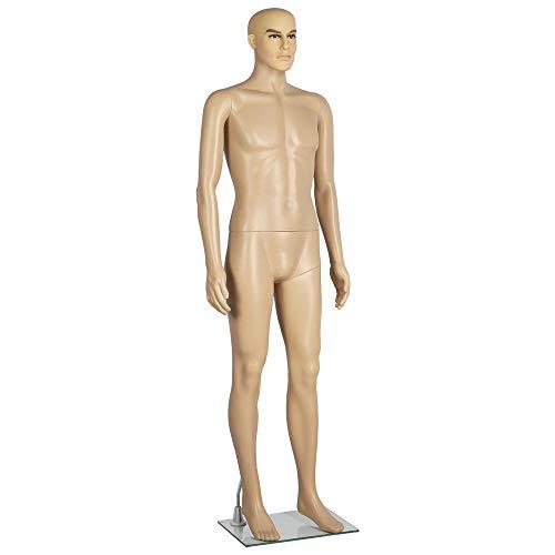 Yaheetech Schaufensterpuppe männlich Mannequin zerlegbar drehbar und 360° beweglich