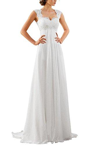 Erosebridal Spitze Chiffon Strand Hochzeitskleid Empire-Taille Mit Schlüsselloch Zurück Weiß DE52W