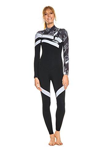 GlideSoul Damen GS74 Full 3/2 mm Chest Zip Neoprenanzug, Black/White, L