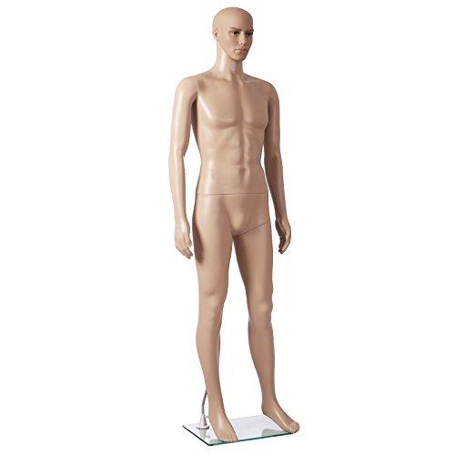 Songmics männliche Schaufensterpuppe männlich Schaufensterfigur Mannequin aus PE-Plastik MPGM18