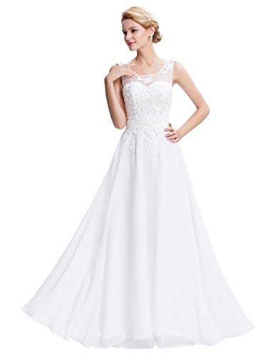 Lange Damen Abendkleider Ballkleider Partykleider Ärmellos Chiffon Kleid für Hochzeit Brautjungfer- Gr. 44, Cl7555-4