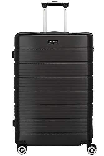 Travelite Funktionaler, smarter, starker, sportlich-eleganter Business-Reisekoffer Hartschalen Trolley Soho Koffer, 77 cm, 106 Liter, Schwarz