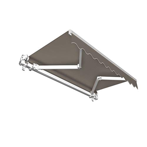 jarolift Gelenkarmmarkise Basic Markise mit Volant für Terrasse Garten Balkon, 400 x 300 cm (Breite x Ausfall), Stoff anthrazit Uni