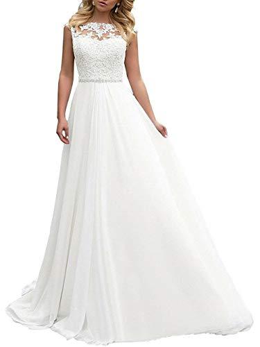 Brautkleid Lang Hochzeitskleider Damen Brautmode Spitze Chiffon A Linie Rückenfrei Weiß EUR36