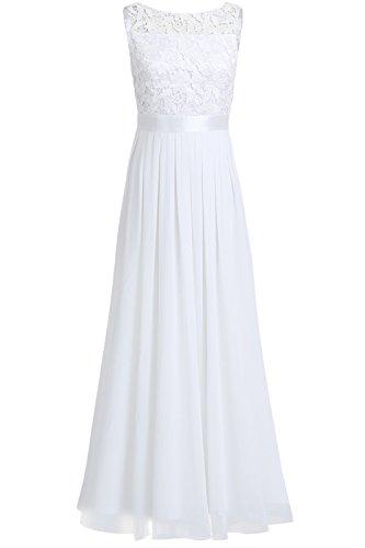 iEFiEL Damen Kleid Festliche Kleider Brautjungfer Hochzeit Cocktailkleid Chiffon Faltenrock Elegant Langes Abendkleid Weiß 38 (Herstellergröße:6)