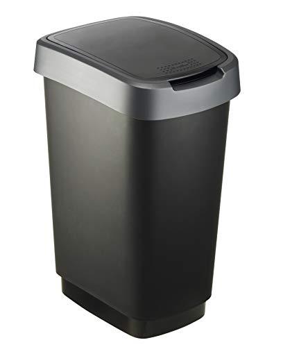Rotho Twist Mülleimer 25 l, Kunststoff (PP), schwarz / silber, 25 Liter (33,3 x 25,2 x 47,6 cm)