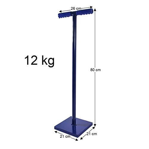 HELO Erdstampfer Betonstampfer aus Stahl 12 kg mit 2-Hand T-Griff, Handstampfer zum Verdichten mit 21x21 cm großer und 30 mm starker Grundplatte, Höhe: 80 cm, Gewicht: 12 kg, Farbe: Blau