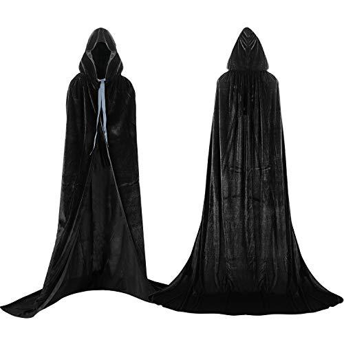 Labellevie Umhang mit Kapuze Lange SAMT Cape Vampir Kostüm Halloween Erwachsener Unisex- Gr. Large, Schwarz