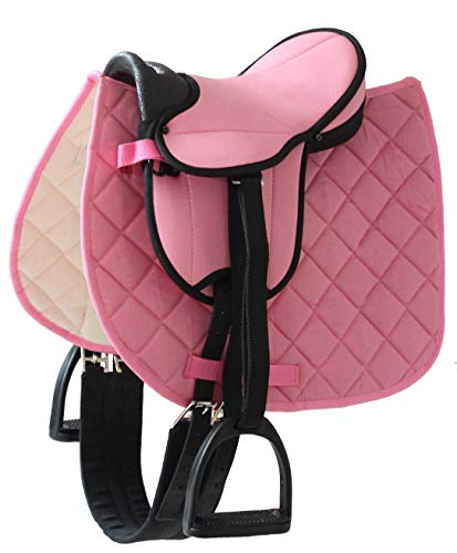 Helga Kreft 50088 Pferdesattel für Holzpferd aber auch für Reitsport; mit gleichfarbiger Schabracke und gepolsteter Sitzfläche, rosa, 2,5kg,