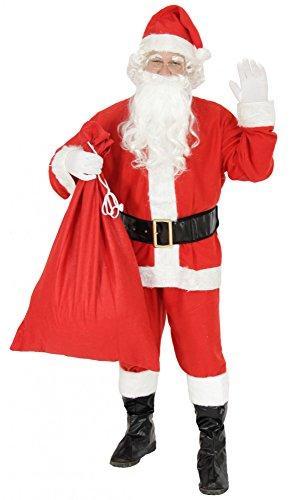 Foxxeo 9-teiliges Weihnachtsmann Nikolauskostüm Kostüm für Herren Mit - Mütze, Bart, Gürtel und Handschuhe, Gr.-L, Rot-Weiß