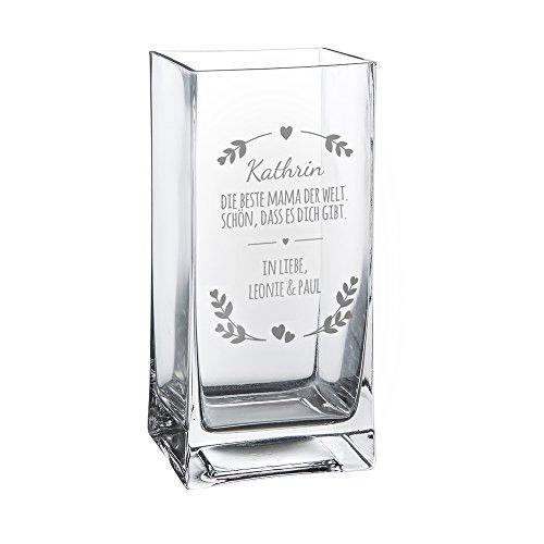 Casa Vivente Blumenvase mit Gravur – Beste Mama der Welt – Personalisiert mit Namen – Glasvase für Schnittblumen – Deko-Vase als Muttertagsgeschenk – Geschenkideen für Frauen zum Geburtstag