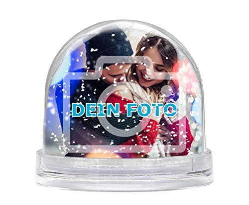 Schneekugel mit eigenem Foto gestalten (Glitzerkugelkugel mit individuellem Bild Bedruckt; per Thermo-Sublimationsdruck, aus Acrylglas, Valentinstag) (weiße Schneeflocken)