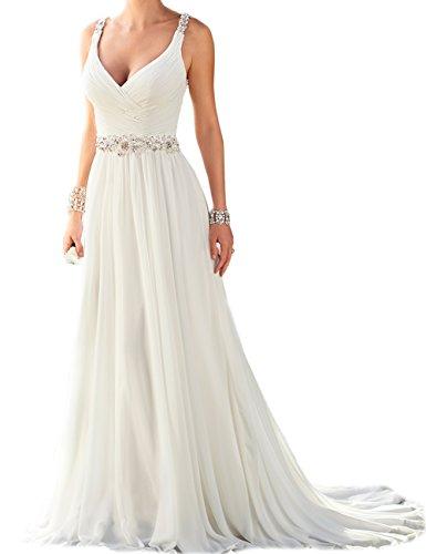 SongsurpriseMall Hochzeitskleider Chiffon Damen Perlen V Ausschnitt Schlüsselloch große Größen Brautkleider Weiß EU40