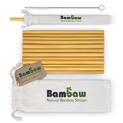 Strohhalme wiederverwendbar, aus Bambus   Trinkhalme Cocktail   Öko Strohhalme   12er Pack