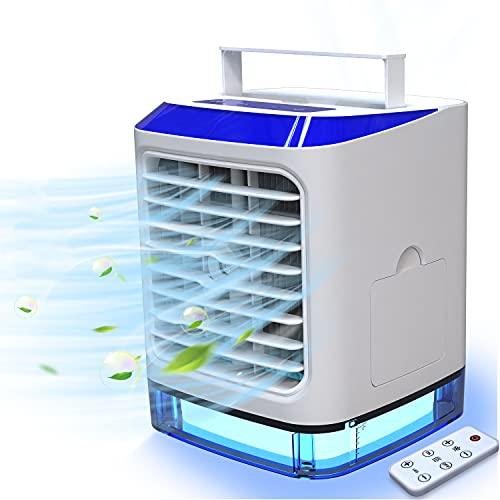 Mobile Klimaanlage 4 in 1 mit Fernbedienung, Mini Luftkühler, Ventilator, Luftbefeuchter, mit Verdunstungskühlung Klimageräte mit 3 Stufen & 7 Stimmungslichtern für Zuhause, Büro und Zimmer