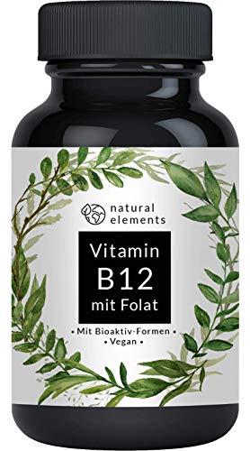 Vitamin B12 1000µg - Vergleichssieger 2019* - 180 Tabletten - Premium: Beide Aktivformen + Depot + Folat (5-MTHF aus Quatrefolic) - Vegan, hochdosiert & made in Germany