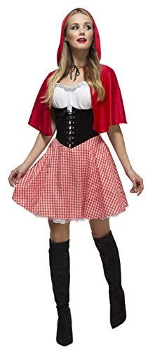 Fever Kollektion Rotkäppchen Kostüm mit Kleid Unterrock und Umhang mit Kapuze, Medium