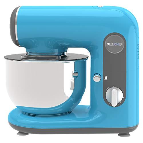 Küchenmaschine, DELECHEF 4L Knetmaschine mit Knethaken, Rührbesen, Schlagbesen, Spritzschutz, 6 Geschwindigkeit mit Edelstahlschüssel Teigmaschine