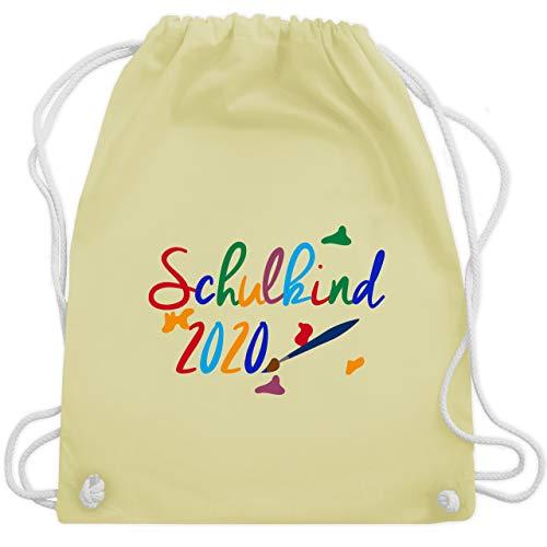 Shirtracer Einschulung und Schulanfang - Schulkind 2020 Pinsel - Unisize - Pastell Gelb - Wasserfarbe - WM110 - Turnbeutel und Stoffbeutel aus Bio-Baumwolle