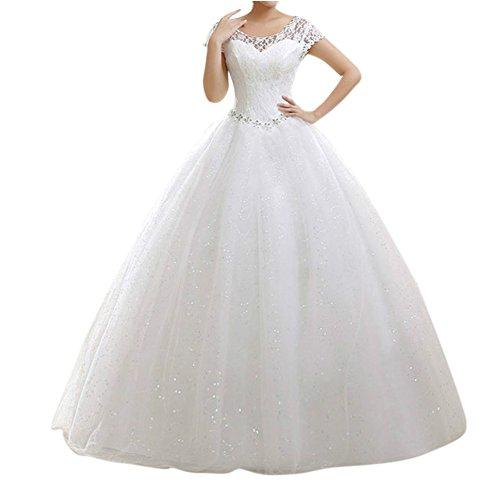 LaoZan Damen Hochzeitskleid Runde Ausschnitt Kurzarm Lange Spitzen Abendkleider Beige XXL