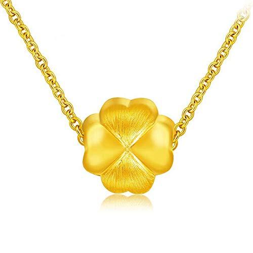 HXUJ 24 Karat reines Gold Klee Anhänger Frau Charme Mädchen Geschenk Charme Real 999 Neue Gute Klassische Mode Neue heißer