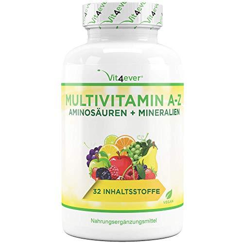 Vit4ever Multivitamin A-Z - 365 Tabletten - 32 Vitamine - Kombination aus Mineralien + Aminosäuren + Spurenelementen + Antioxidantien - 12 Monatspackung - Laborgeprüft - Vegan - Täglich nur 1 Tablette - Hochdosiert