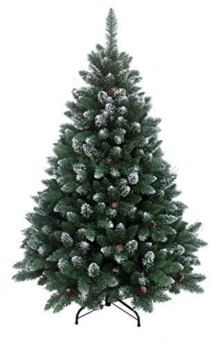 RS Trade HXT 15013 künstlicher Weihnachtsbaum 180 cm mit Schnee und Zapfen (Ø ca. 114 cm) ca. 1095 Spitzen, schwer entflammbarer Tannenbaum mit Schnellaufbau Klappsystem, inkl. Christbaum Ständer