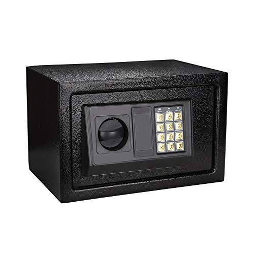 Hengda Tresor 31x20x20cm Elektronischer Safe, Elektronik Zahlenschloss Doppelstahlbolzen Montagematerial Safe Möbeltresor Schwarz