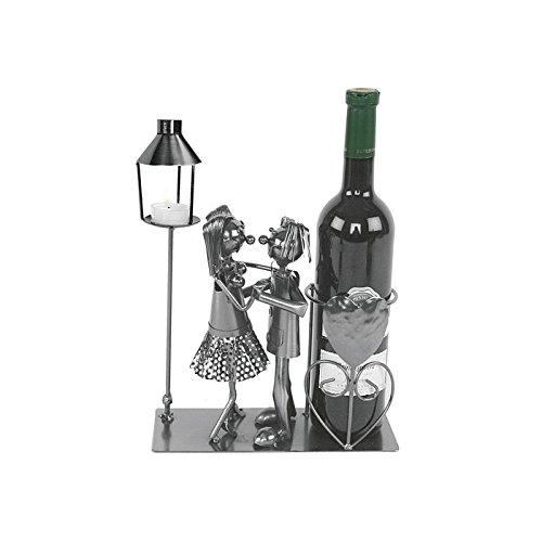 Michel Toys Flaschenhalter Tanzpaar mit Laterne für Teelicht, Kerze, Metall, Silber