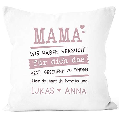SpecialMe® Kissen-Bezug personalisiertes Geschenk Spruch Papa/Mama wir Habe versucht Finden anpassbare Namen Dekokissen Mama 2 weiß Unisize