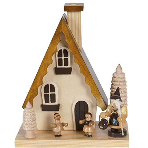 OBC Räucherhaus Hänsel und Gretel Natur, 15 cm/Räuchermännchen Dekofigur/Handbemalt im Erzgebirge - Stil/Räuchermann / Räucherfigur aus Holz