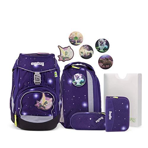 Ergobag Pack Bärgasus Glow - Lila, ergonomischer Schulrucksack, Set 6-teilig, 20 Liter, 1.100 g, Lila