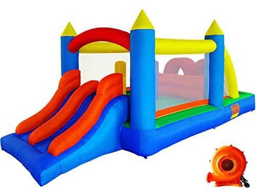 Ballsea Hüpfburg (Aktualisierte Version) Aufblasbares Spielhaus mit Gebläse, Kinderspielburg mit Rutsche, Trampolin, Hindernisbahn Kindertrampolinhaus (488 x 240 x 190 cm)