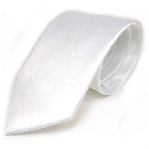 TigerTie Designer Satin Krawatte weiss schneeweiss uni Polyester